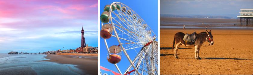 Blackpool tower, ferris wheel, donkey